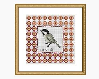 Cross Stitch Pattern, Modern cross stitch - MARSH TIT bird cross stitch chart - Downloadable PDF