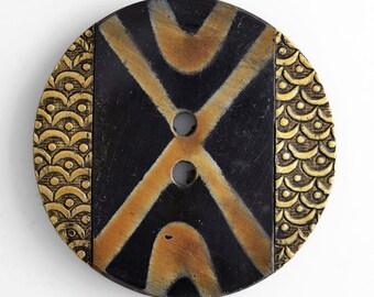 Vintage Round Horn Button with Brass for craft, accessories, Brass/Black, 45mm, 40mm, HZB-50565