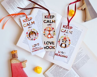 Bookmark with Ribbon: Fox, OWL and Hedgehog (Keep calm and love...)
