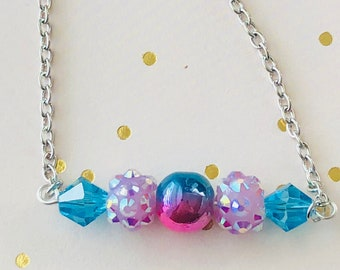 Bar Necklace, Blue and Pink Beaded Bar Pendant Neclace, Gifts under 20 dollars, Fun gifts, summer fashion