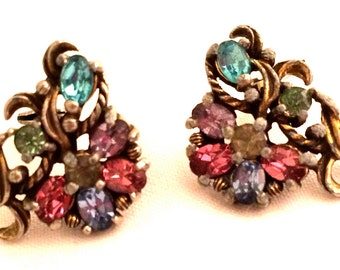 Joseph WIESNER of NY Sparkles Multicolored Pastel Rhinestones Pink Blue Lilac Purple Clip on Earrings PAT Authentic Designer Vintage Jewelry