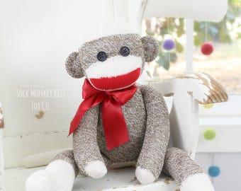 Sock Monkey Doll, Children's Stuffed Plush Toy