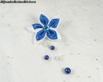 Brooch, lapel pins - the elegant Collection - wedding brooch blue flower and Pearl buttonhole flower wedding, wedding, wedding jewelry