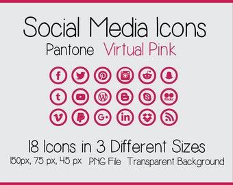 Social Media Icons - Pantone Virtual Pink