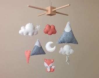 Fox Nursery Decor . Fox Baby Mobile . Dusky Pink Nursery Decor . Mountain Nursery Mobile . Baby Girl Gift . Moon & Stars Baby Mobile .
