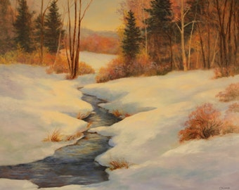 Country Stream After The Snow Storm