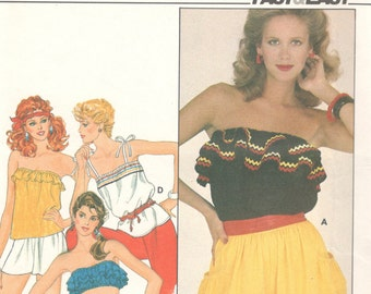 Butterick 4401 1980s EASY Misses Summer Tops Pattern  Bandeau Midriff Sleeveless Womens  Vintage Sewing Pattern Large Bust 38 40 UNCUT