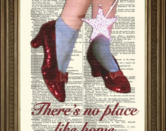 """WIZARD OF OZ: No Place Like Home Dictionary Print, Red Ruby Slippers Wall Art (8 x 10"""")"""