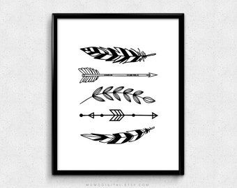 SALE -  Printable Set Of Feathers, Feathers Print, Feathers Art, Feather Print, Feather Art, Tribal Print, Tribal Poster