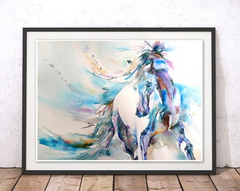Horse Print, Horse Wall Art, Stallion Painting, Horse Painting, Horse  Watercolour Wall