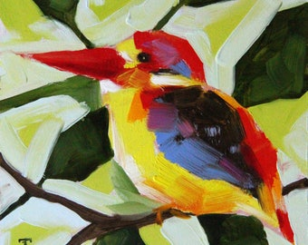 Bird oil painting, Birds original oil painting, Birds art, Christmas gifts, birthday gifts