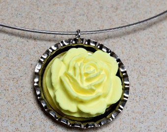 SALE Bright Yellow Flower Bottlecap Necklace
