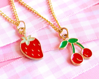 Vintage Gold Cherry Charm Necklace, Strawberry Charm, Dainty Gold Chain, Gold Charm Jewelry, Layering Necklace, Kawaii, Lolita