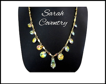 "SARAH COVENTRY Aurora Borealis Crystal Necklace ""Crystal Fire"", Rivoli AB Crystals, Bridal Necklace / Choker, Mothers Day Gift For Her"