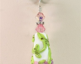 Glass Lampwork Focal Bead Pendant Green White Pink Purple SRAJD