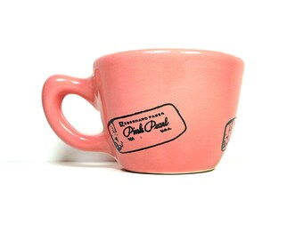 12oz cup/mug with a pink pearl eraser print & pencil on it, shown here on bubblegum pink glaze  - Made to Order / Pick Your Colour