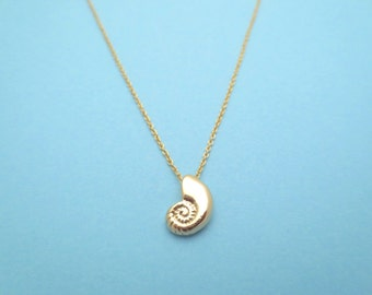 Ariel voice, Seashell, Gold, Necklace, Mermaid, Shell, Necklace, Birthday, Friendship, Mom, Sister, Gift, Jewelry