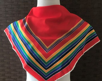 Vintage Scarves/ Crepe De Chine Polyester Scarf/ 21 Inch Scarf/ Vintage Accessories/ Scarves/ Accessories/ Scarf Accessory