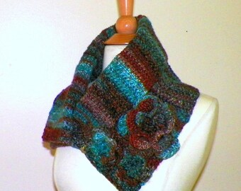 Blue Cowl Scarf Button Infinity Neckwarmer Winter Red Brown Collar With Flowers Brooch Freeform Crochet