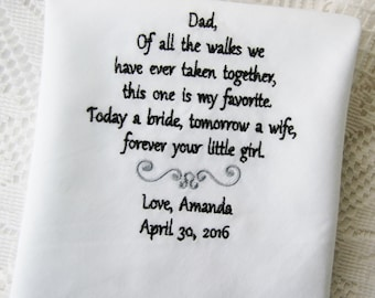 Father of the Bride Gift- Embroidered Handkerchief Choose Your Wording and Design