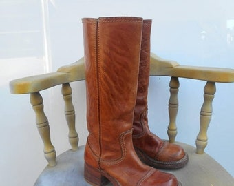 Moving Sale Vintage Tan Leather Campus 70s Pull On Boots Size EU 36.5 US 6.5 Boho Frye Style