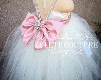 Baptism Dress - Mini Bride Dress - Flower Girl Dress - Rosette Dress -  Big Bow Dress - Wedding Dress - Kimbely  Dress by Zulett Couture