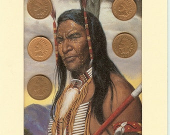 Five Indian Head Penny Mini Collection with image of American Indian Warrior