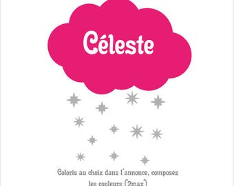 Cloud and stars decals for home nursery baby kids. Stickers personalized with name