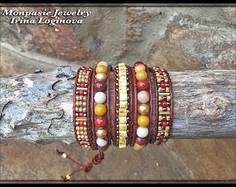 Mookaite and Swarovski Pearls 5x Wrap Leather Bracelet - Casual Leather Wrap Bracelet - Boho Beaded Wrap Bracelet