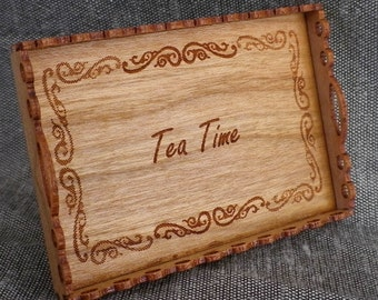 Tea Tray - one inch scale Cherrywood