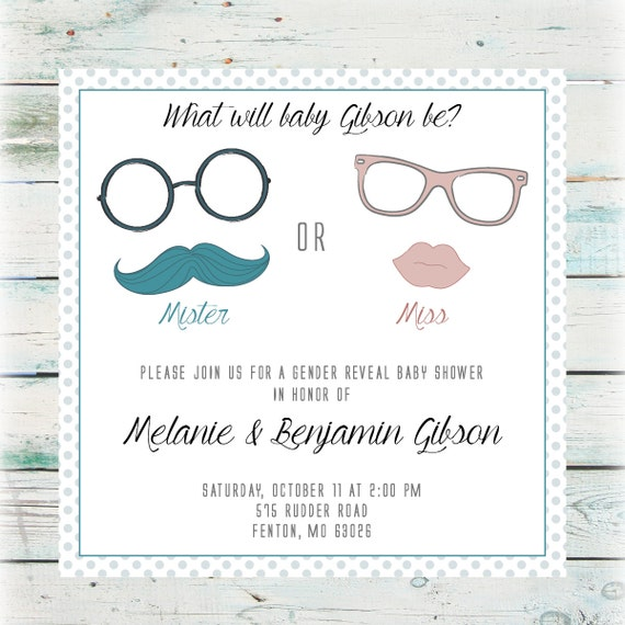 Printable Mister or Miss Gender Reveal Party Invitation