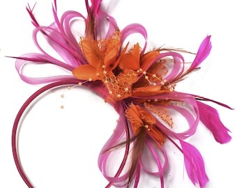 Fuchsia Pink & Orange Feathers Fascinator on Headband Ascot Wedding