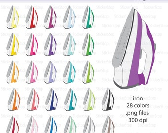 Clothes Iron Digital Clipart - Instant download PNG files