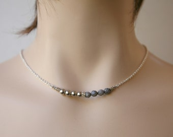 Understated Dainty Gemstone and Metal Bead Bar Necklace Gold or Silver Four Color Choices