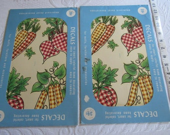 PAIR Vintage Meyercord Waterslide Decal X144A Transfer Wall or Furniture Decor Crafts GINGHAM Veggies Vegetables Farm Garden Beets Carrots