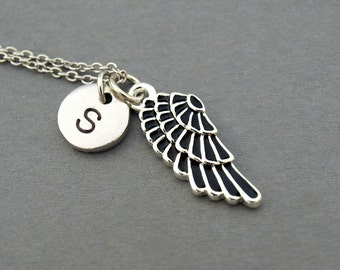 Black Angel Wing necklace, angel wing, initial necklace, hand stamped, Friendship, personalized, antique silver, monogram
