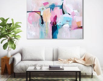 Abstract print pink blue large, abstract art print pastel, large abstract art pink, abstract canvas art large, abstract painting print pink