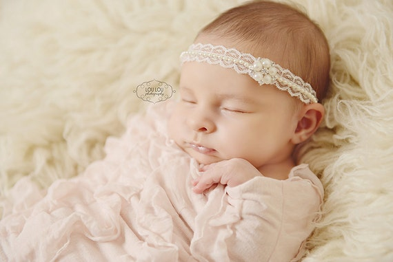 Baby Heirloom Christening Headband, pearl headband, blessing headband, baby headband, newborn headband, bridal headband, bridal hair piece