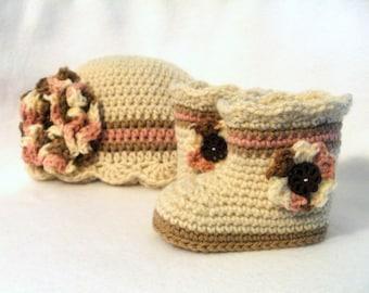 Crochet Baby Booties and Hat Set Crochet Baby Boots and Hat Baby Girl Boots Ivory Baby Girl Booties Pink Ivory Brown Baby Boots and Hat