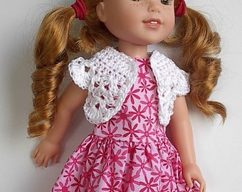 "14"" Doll Clothes Sleeveless Cotton Dress with Pink Flowers and White Crocheted Bolero Handmade to fit 14.5"" Wellie Wishers Dolls"