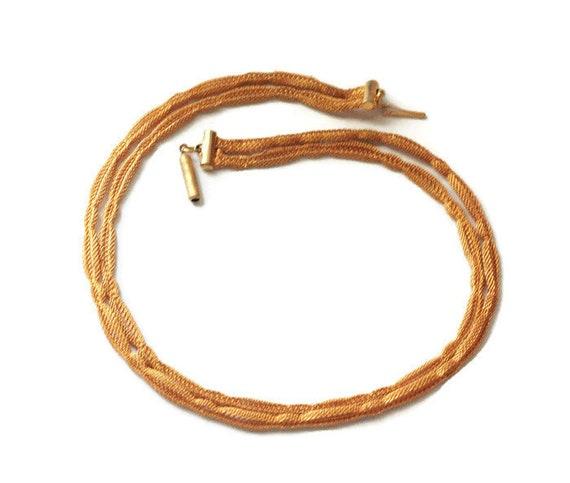 Gold Tone Mesh Choker Necklace Two Strands Slender Neck 14 1/2 Inch Length