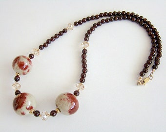 Kohaku Necklace, Red & White Porcelain Bead Necklace, Garnet Necklace, Large Bead Necklace, Boho Jewelry, Oriental Style, Statement Jewelry
