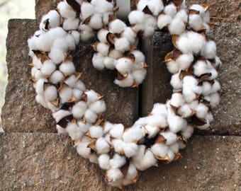 Small heart  Cotton wreath - Cotton boll Wreath - Preserved cotton Wreath - Candle Wreath -Wedding Wreath - Cotton bolls