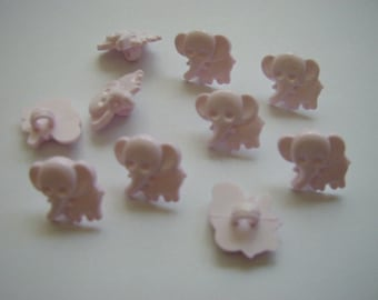 10 Pink Elephant Buttons