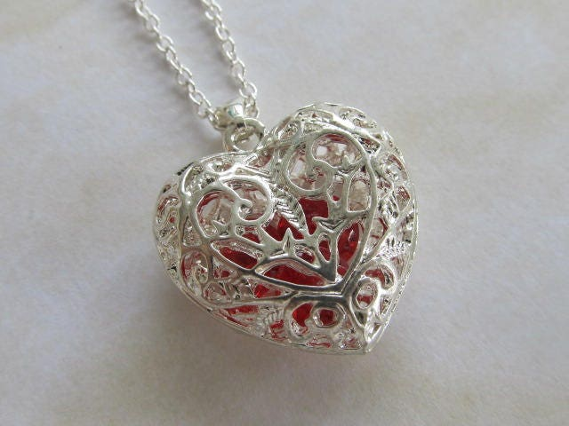 Sterling silver filigree heart necklace pendant silver heart sterling silver filigree heart necklace pendant silver heart jewellery with 2 red hearts inside silver filigree open details gift for her mozeypictures Gallery
