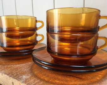 Retro robust set of French Duralex Cups and  Sauceres , French Cuisine , Home Decor
