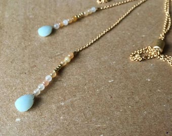 Long Amazonite Drops Necklace