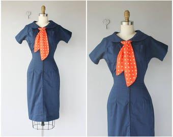 Vintage 1950s Dress | 50s Navy Blue Day Dress | 1950s Nautical Dress | 50s Wiggle Dress | 40s Dress | 1940s Dress - (x-small)