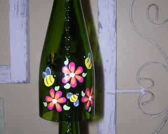 Bee and flowers wine bottle windchime garden porch deck