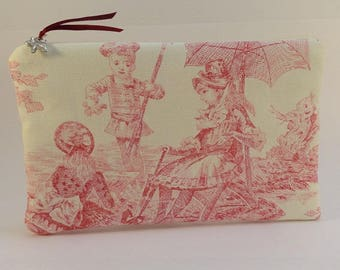 flat pouch in ecru fabric print style red French toile de Jouy